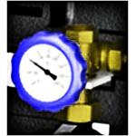 Трехходовой смесительный клапан 3/4 НР 1 1/2 ВР, с термометром 102106